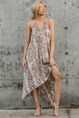 8 She's A Sly One Tan Snake Print High-Low Dress at reddressboutique.com