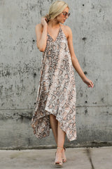 9 She's A Sly One Tan Snake Print High-Low Dress at reddressboutique.com