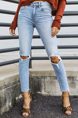 4 Cue The Casual Light Wash Distressed Skinny Jeans at reddressboutique.com