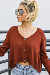 10 Keep It Real Brick Red Cropped Cardigan at reddressboutique.com