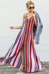 9 Waking Up There Pink Multi Stripe Maxi Dress at reddressboutique.com