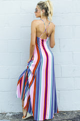 10 Waking Up There Pink Multi Stripe Maxi Dress at reddressboutique.com
