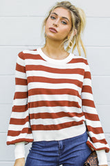 1 Off To Newport Brick Stripe Sweater at reddressboutique.com