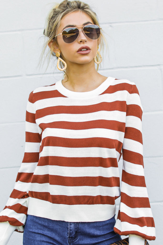 1 Anticipating Fall Light Mocha Striped Sweater at reddress.com