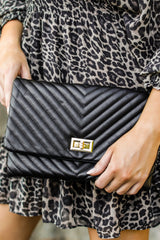 5 In Line With Style Black Clutch at reddressboutique.com