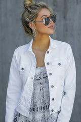 5 Framed By Love White Denim Jacket at reddress.com