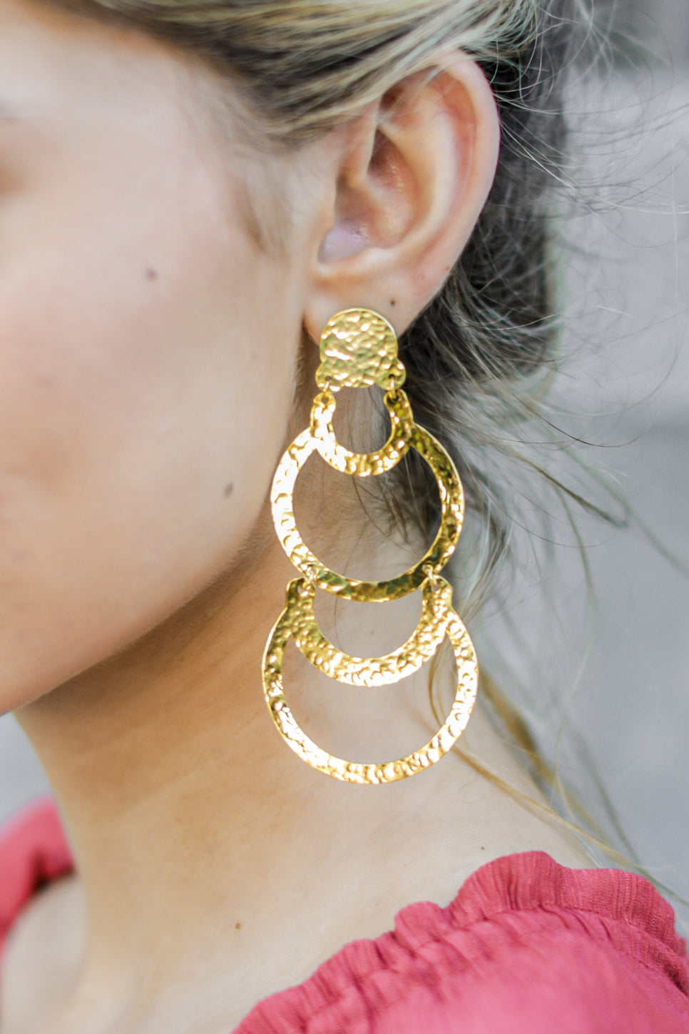 5 Cascading Beauty Gold Earrings at reddressboutique.com