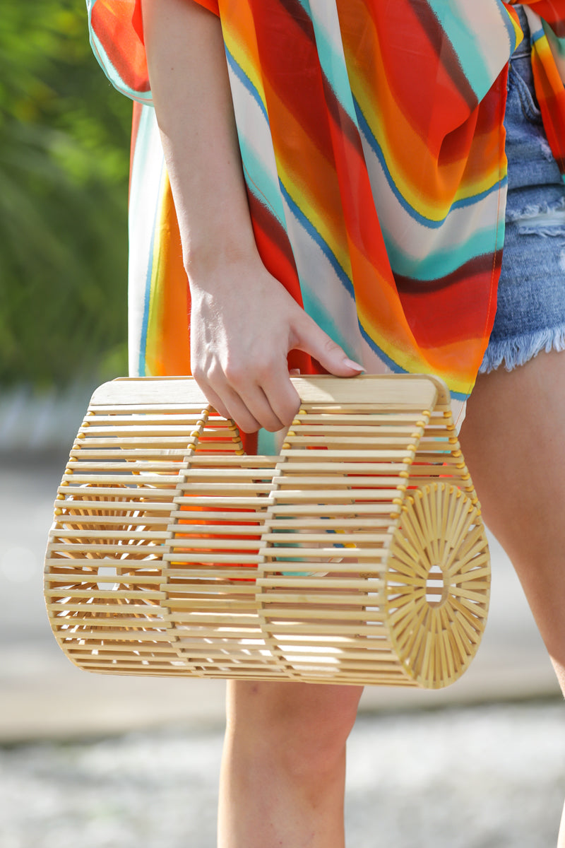 3 Going All Over Round Bamboo Bag at reddressboutique.com