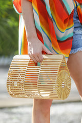 1 Going All Over Round Bamboo Bag at reddressboutique.com