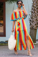 Tie Waist Waistline Off the Shoulder Polyester Striped Print Belted Slit PomPom Trim Tunic/Maxi Dress With Ruffles