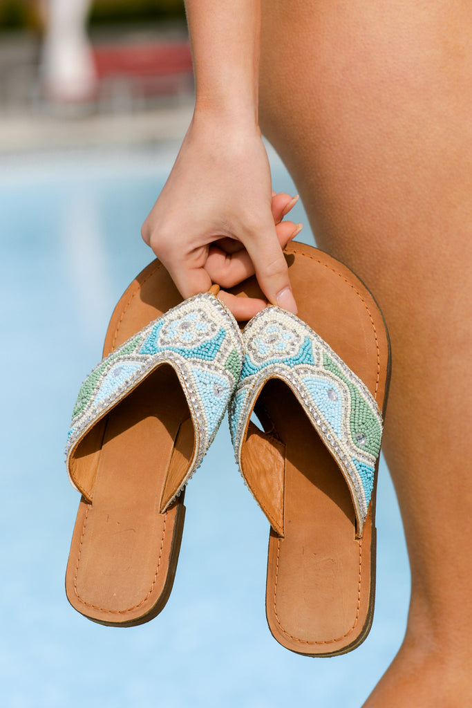 Pedi Perfect Gold Beaded Sandals