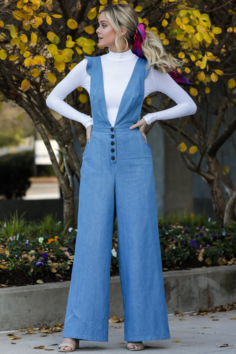 2 Stop The Chaos Light Chambray Jumpsuit at reddressboutique.com