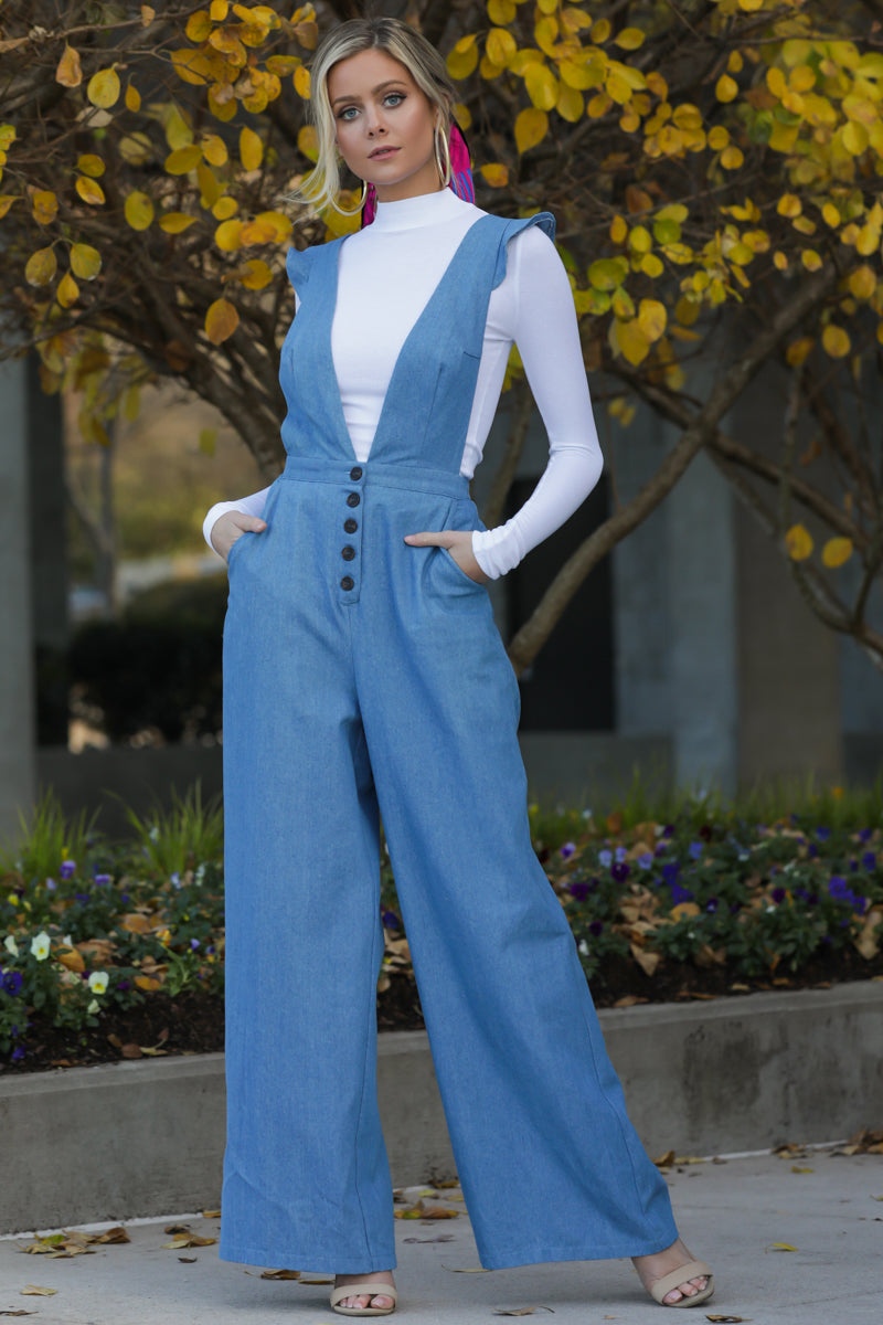 3 Stop The Chaos Light Chambray Jumpsuit at reddressboutique.com