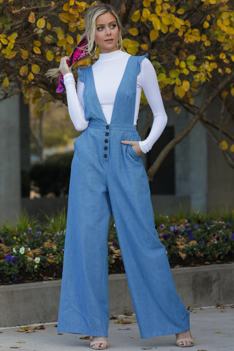 Stop The Chaos Light Chambray Jumpsuit