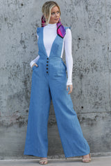 1 Stop The Chaos Light Chambray Jumpsuit at reddressboutique.com