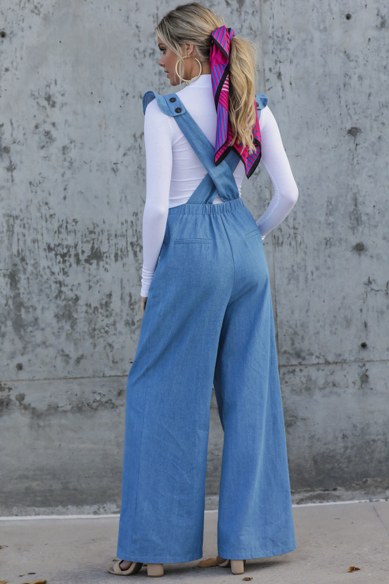 4 Stop The Chaos Light Chambray Jumpsuit at reddressboutique.com