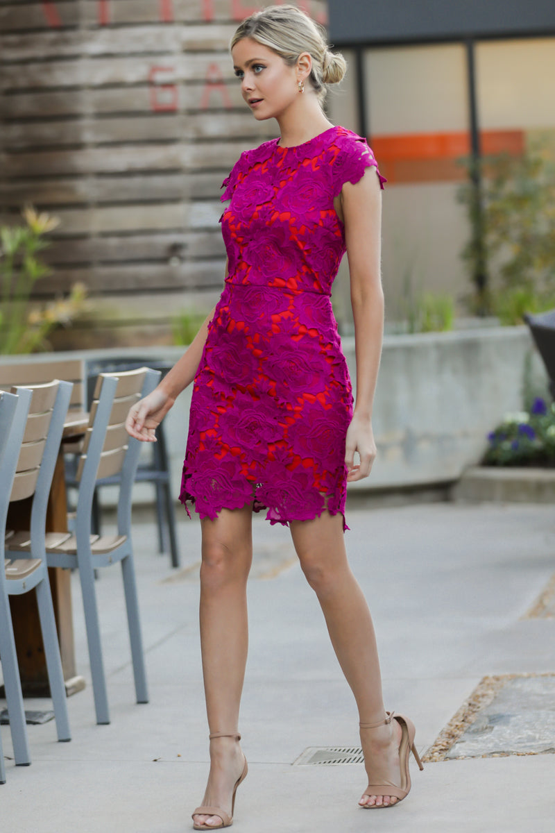 1 Love Blooms Magenta Lace Dress at reddress.com
