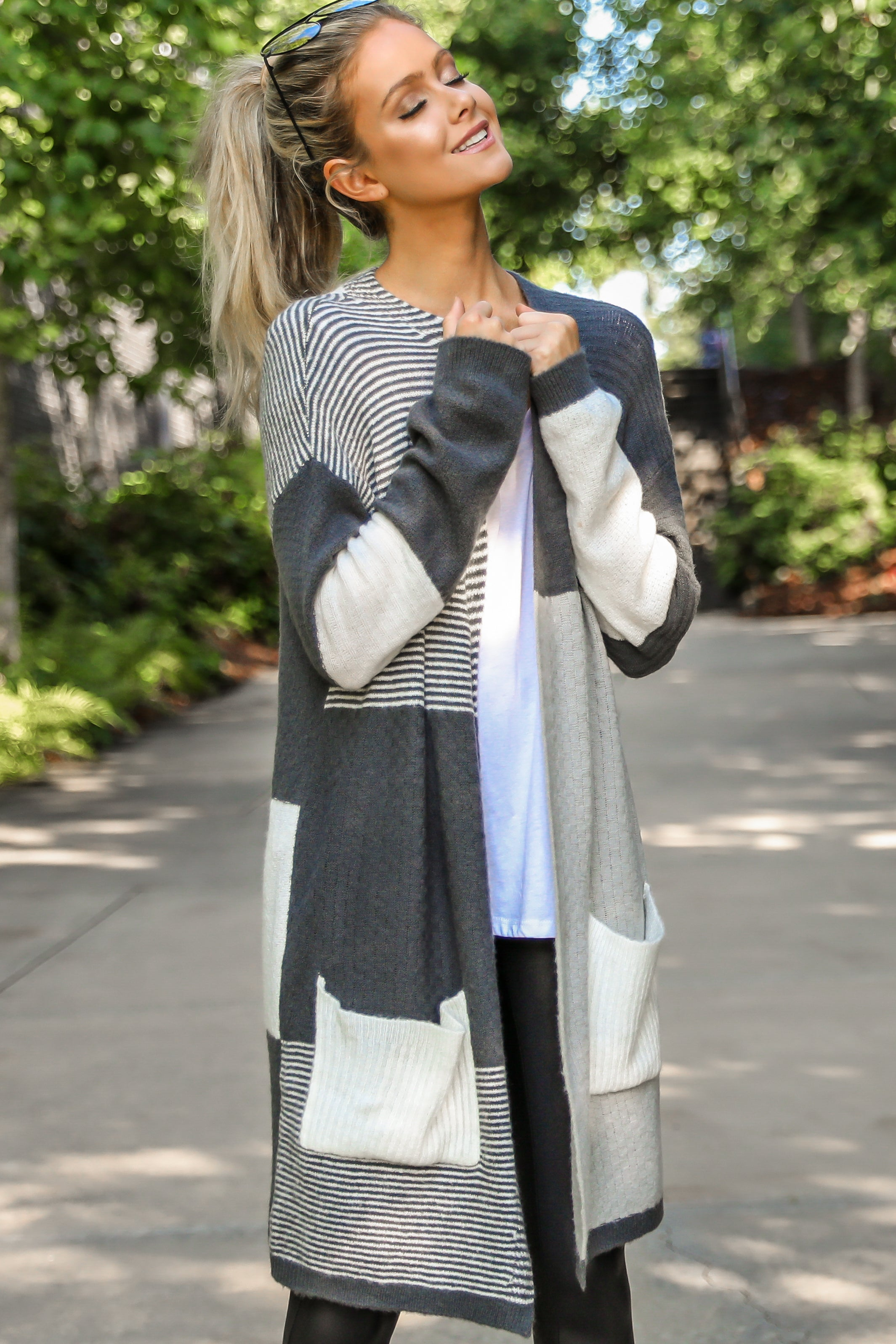 11 In Your Comfort Zone Grey Multi Cardigan at reddressboutique.com