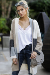 4 Cover The Basics Beige Multi Cardigan at reddressboutique.com