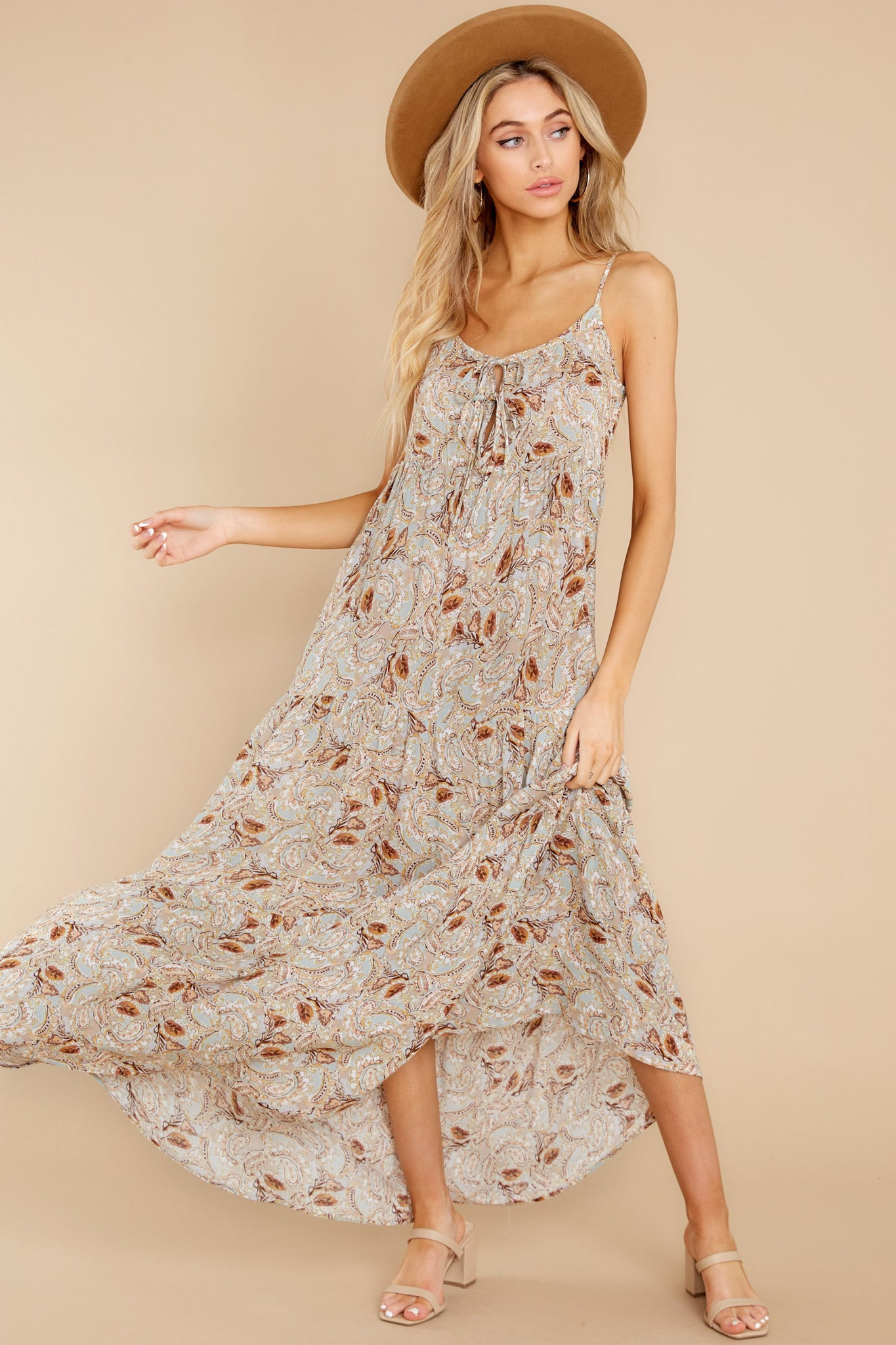 1 Fallen For You Sage And Rust Multi Print Maxi Dress at reddress.com
