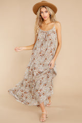 3 Fallen For You Sage And Rust Multi Print Maxi Dress at reddress.com