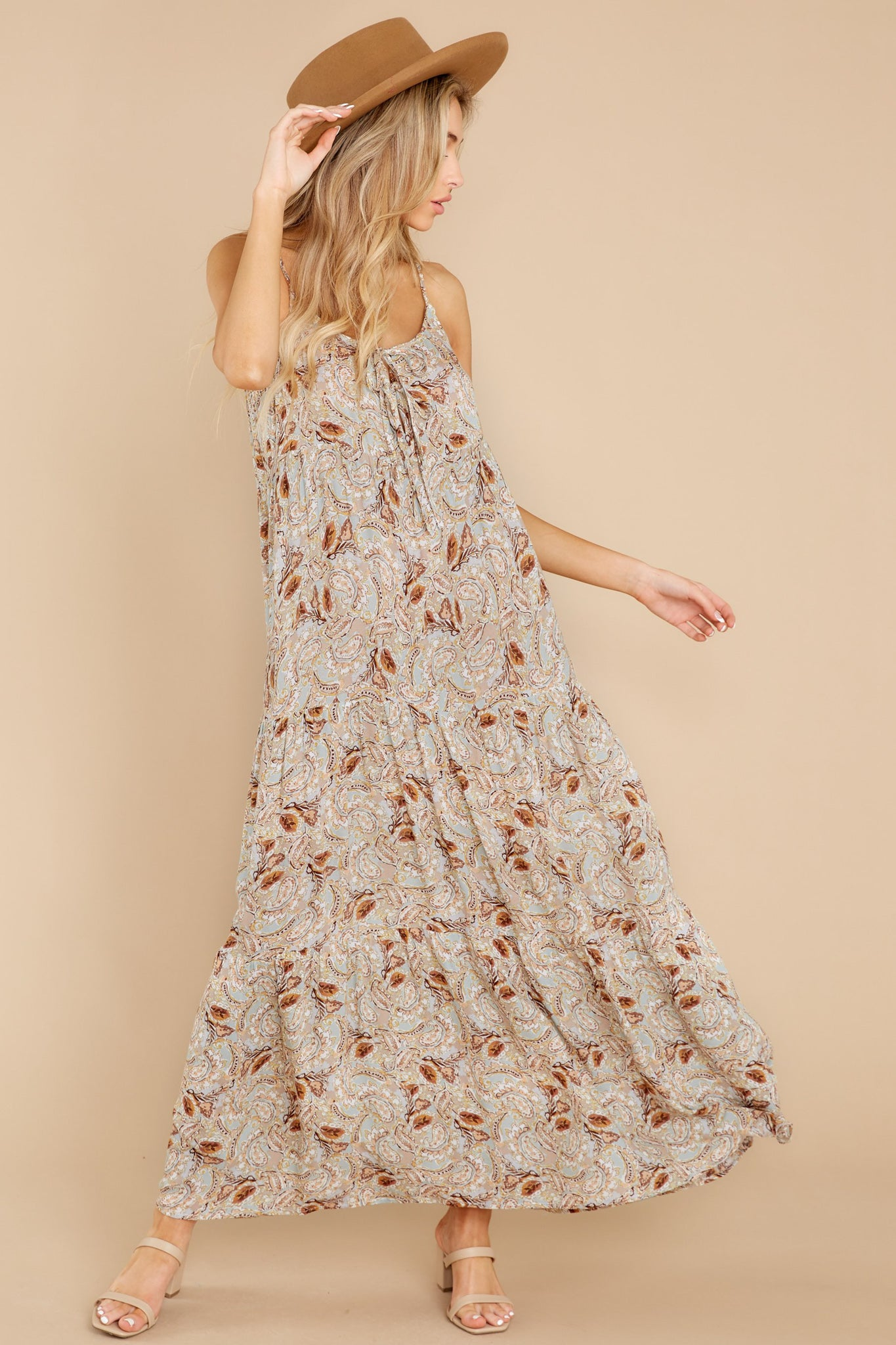 4 Fallen For You Sage And Rust Multi Print Maxi Dress at reddress.com