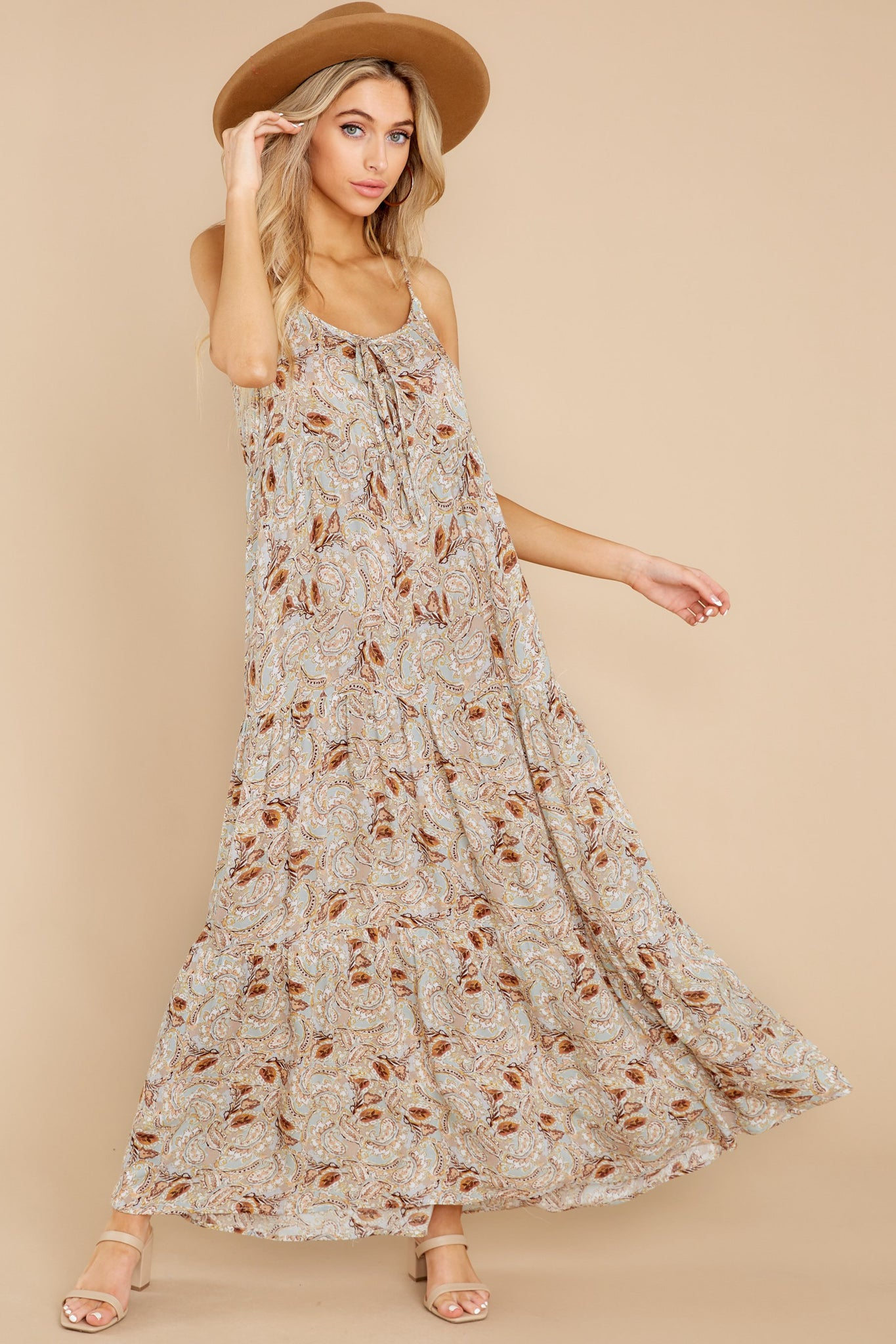 5 Fallen For You Sage And Rust Multi Print Maxi Dress at reddress.com