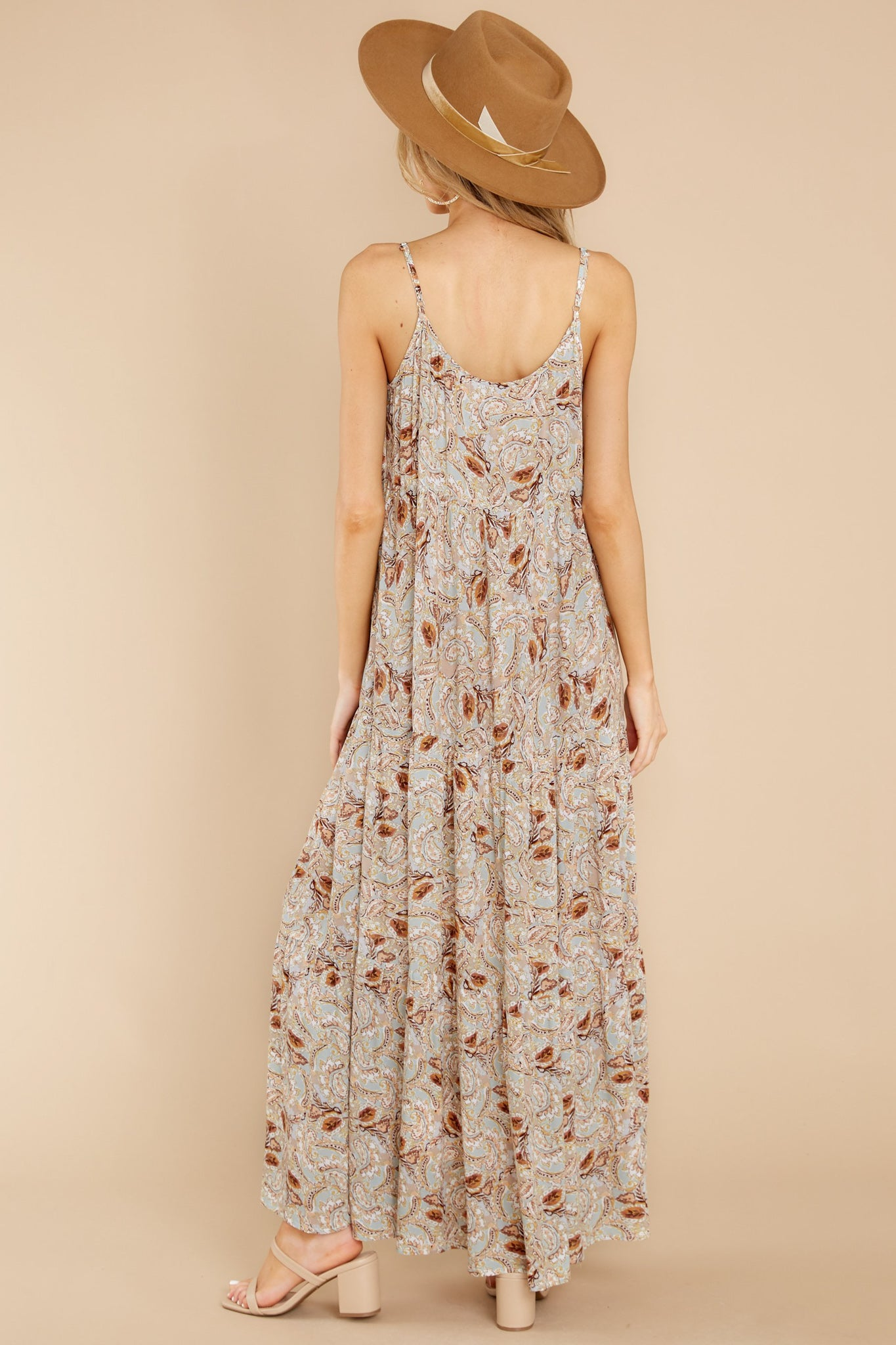 7 Fallen For You Sage And Rust Multi Print Maxi Dress at reddress.com