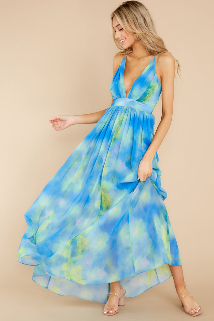 1 Upping The Stakes Blue Multi Maxi Dress at reddress.com