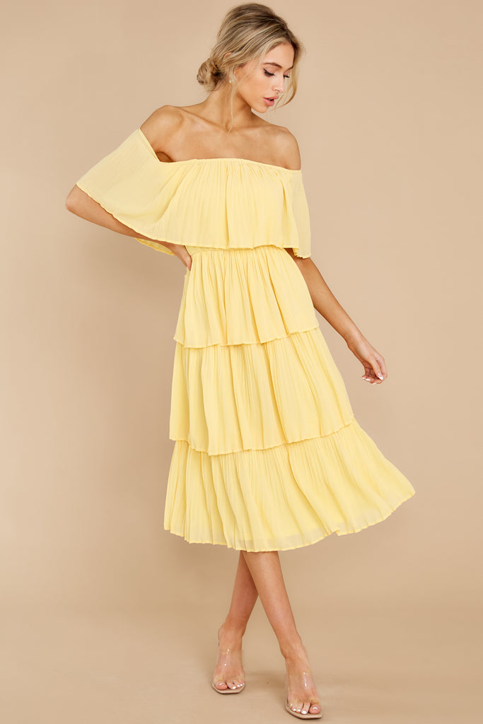 1 Living The Dream White And Yellow Stripe Maxi Dress at reddress.com