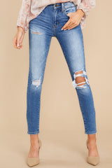 1 In Action Medium Wash Distressed Skinny Jeans at reddress.com