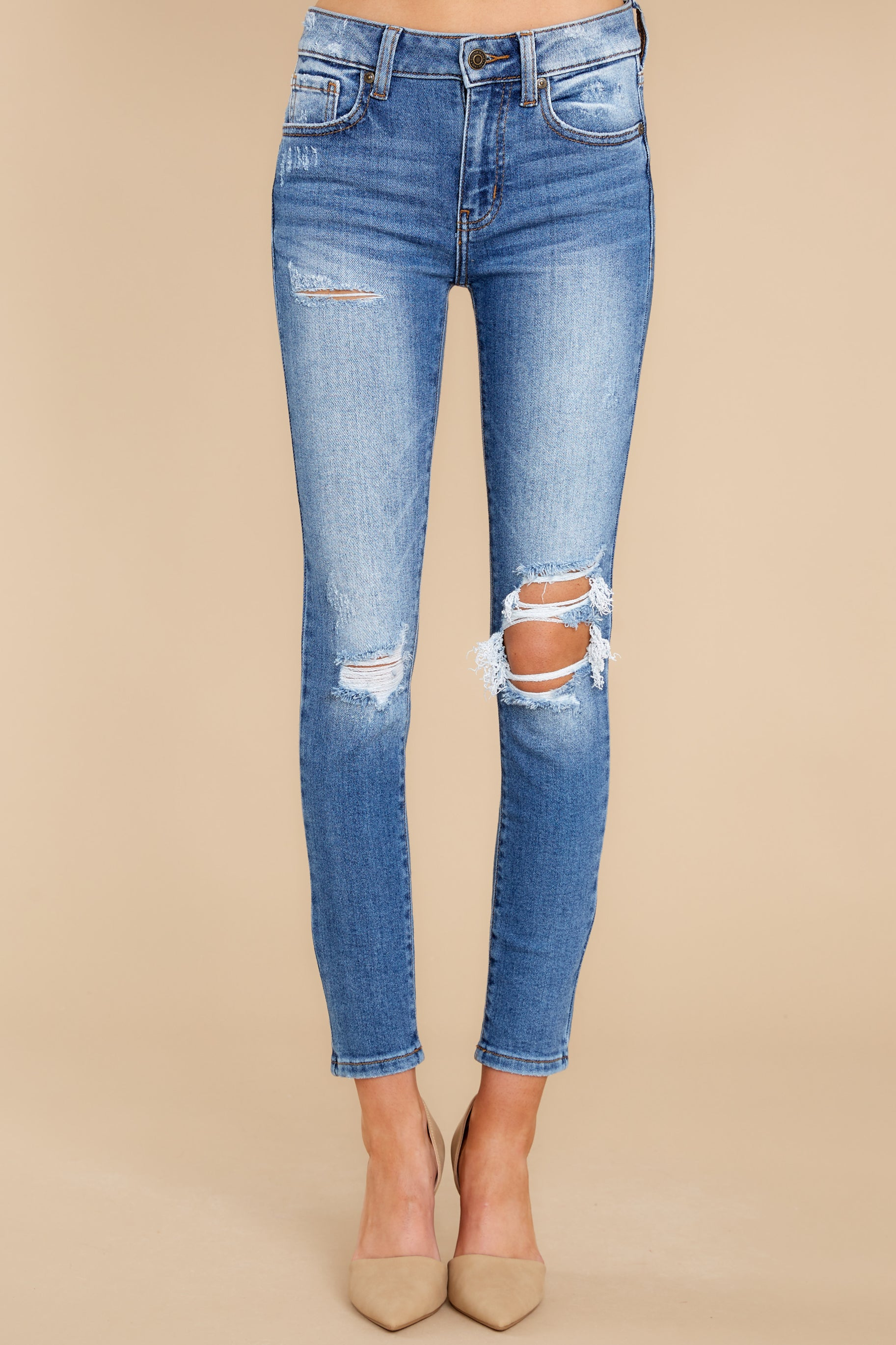 2 In Action Medium Wash Distressed Skinny Jeans at reddress.com