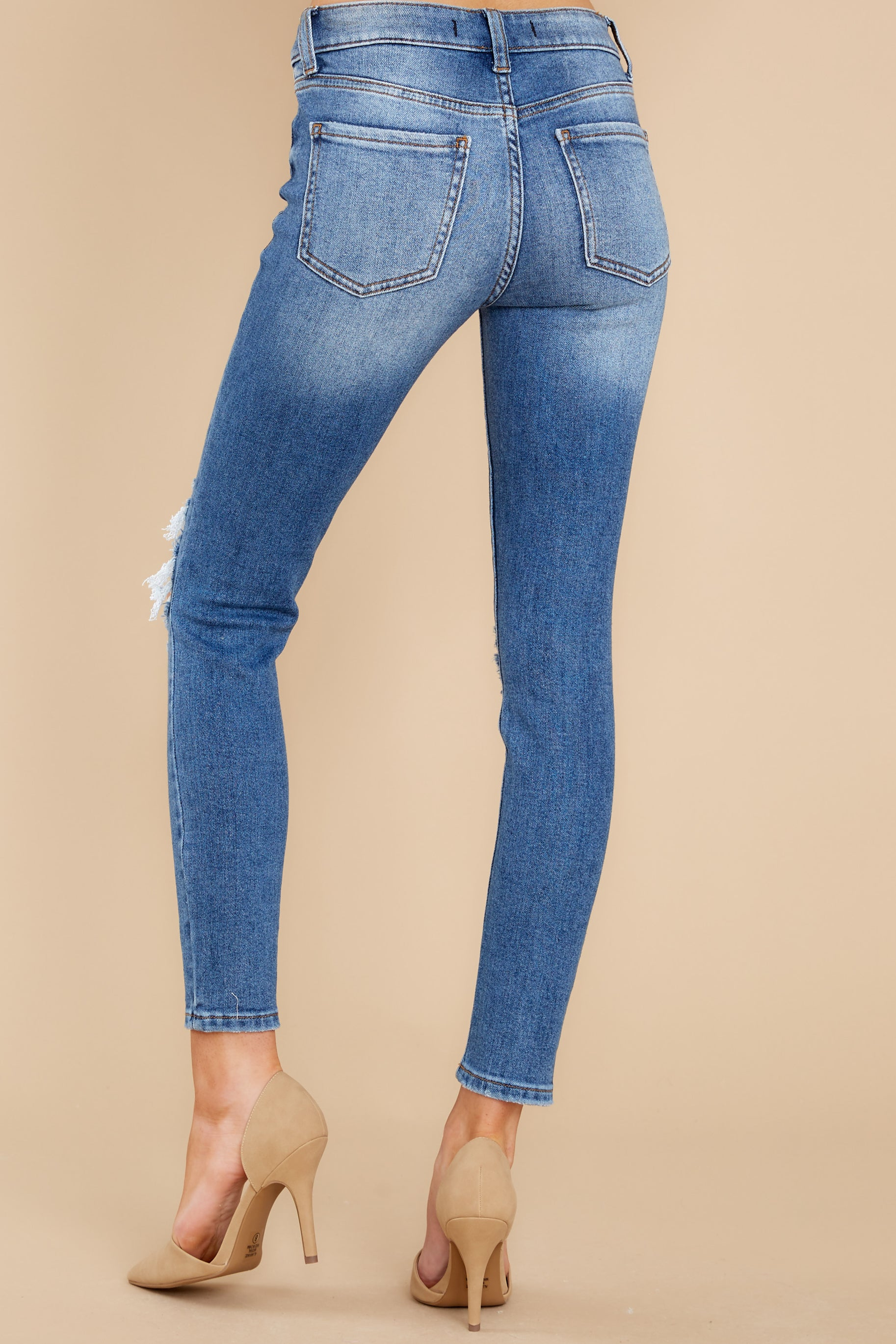 5 In Action Medium Wash Distressed Skinny Jeans at reddress.com