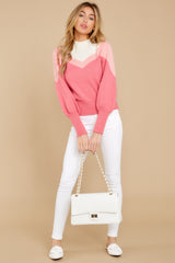 3 You've Got Me Pink Multi Sweater at reddressboutique.com