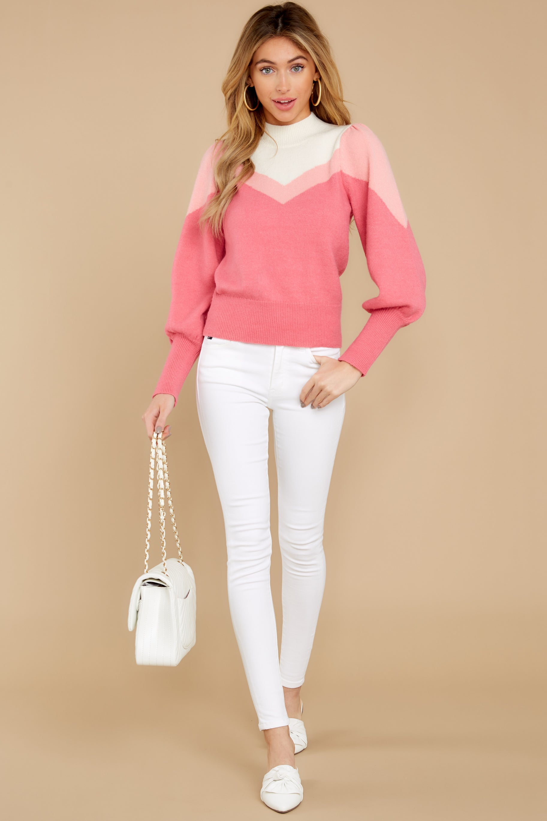 2 You've Got Me Pink Multi Sweater at reddressboutique.com
