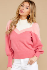6 You've Got Me Pink Multi Sweater at reddressboutique.com