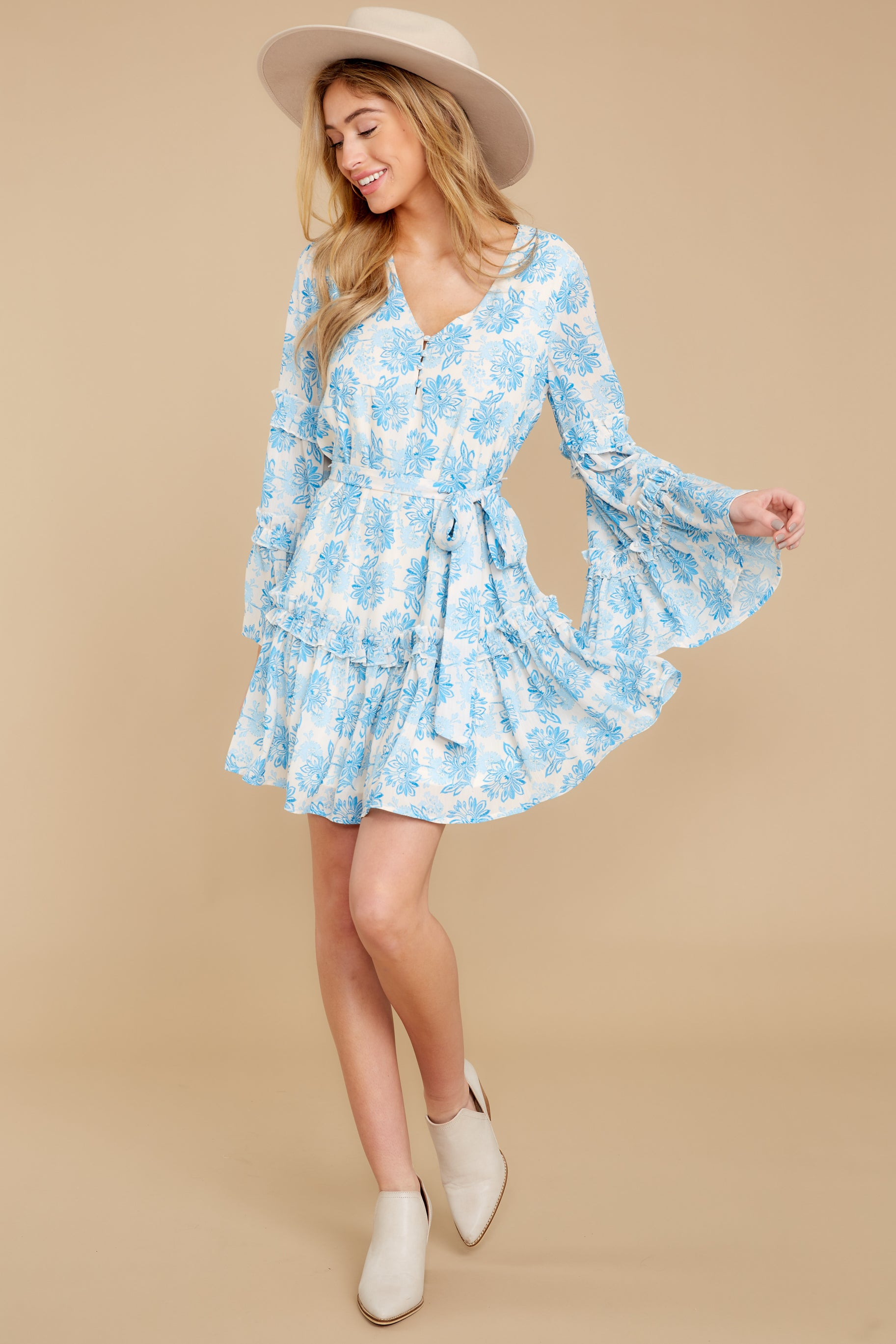 8 Out Of The Light Blue Print Dress at reddress.com