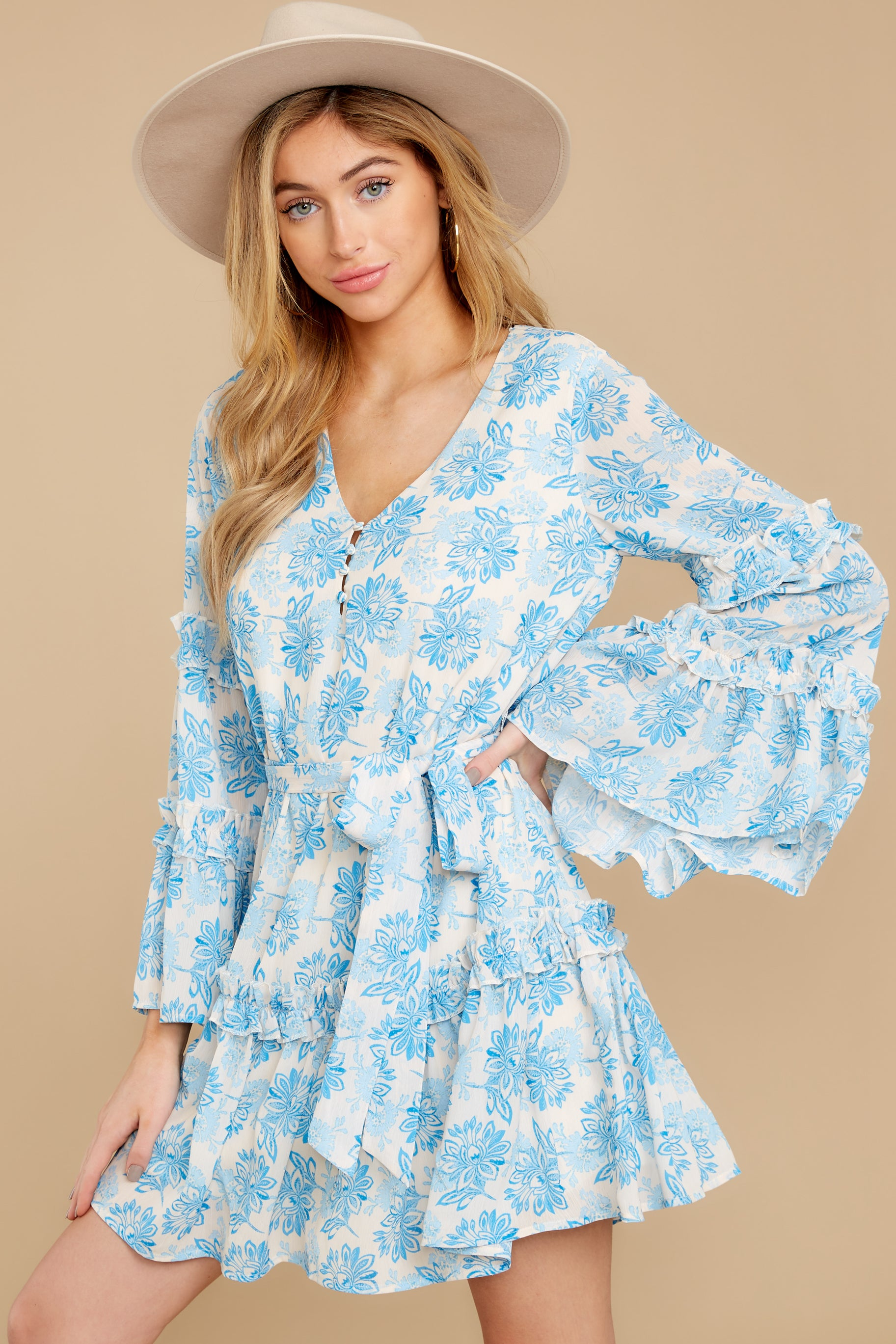 9 Out Of The Light Blue Print Dress at reddress.com