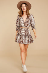 2 You Will Be Noticed Brown Snake Print Dress at reddressboutique.com