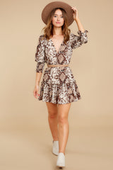 3 You Will Be Noticed Brown Snake Print Dress at reddressboutique.com