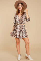 1 You Will Be Noticed Brown Snake Print Dress at reddressboutique.com