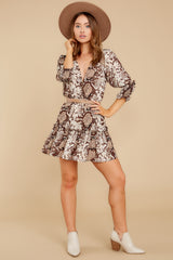 4 You Will Be Noticed Brown Snake Print Dress at reddressboutique.com