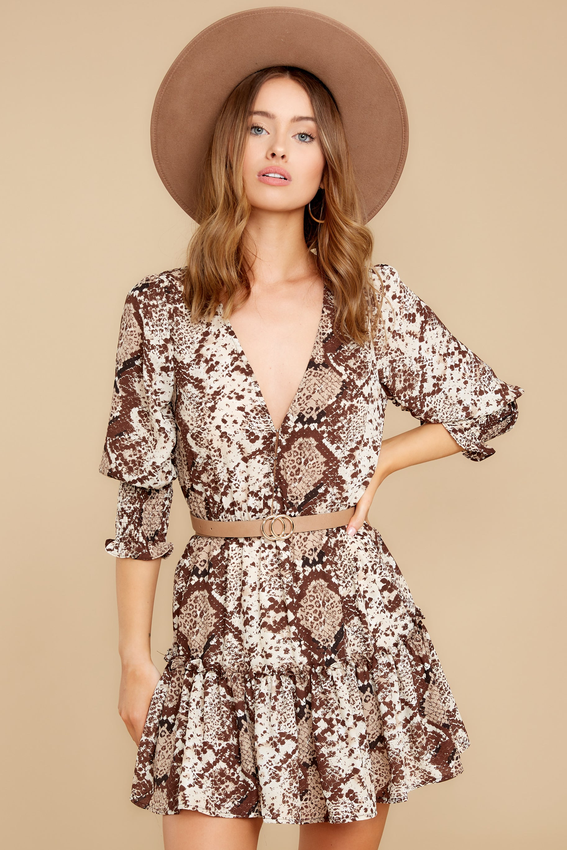 6 You Will Be Noticed Brown Snake Print Dress at reddressboutique.com