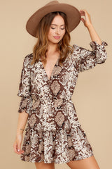 7 You Will Be Noticed Brown Snake Print Dress at reddressboutique.com