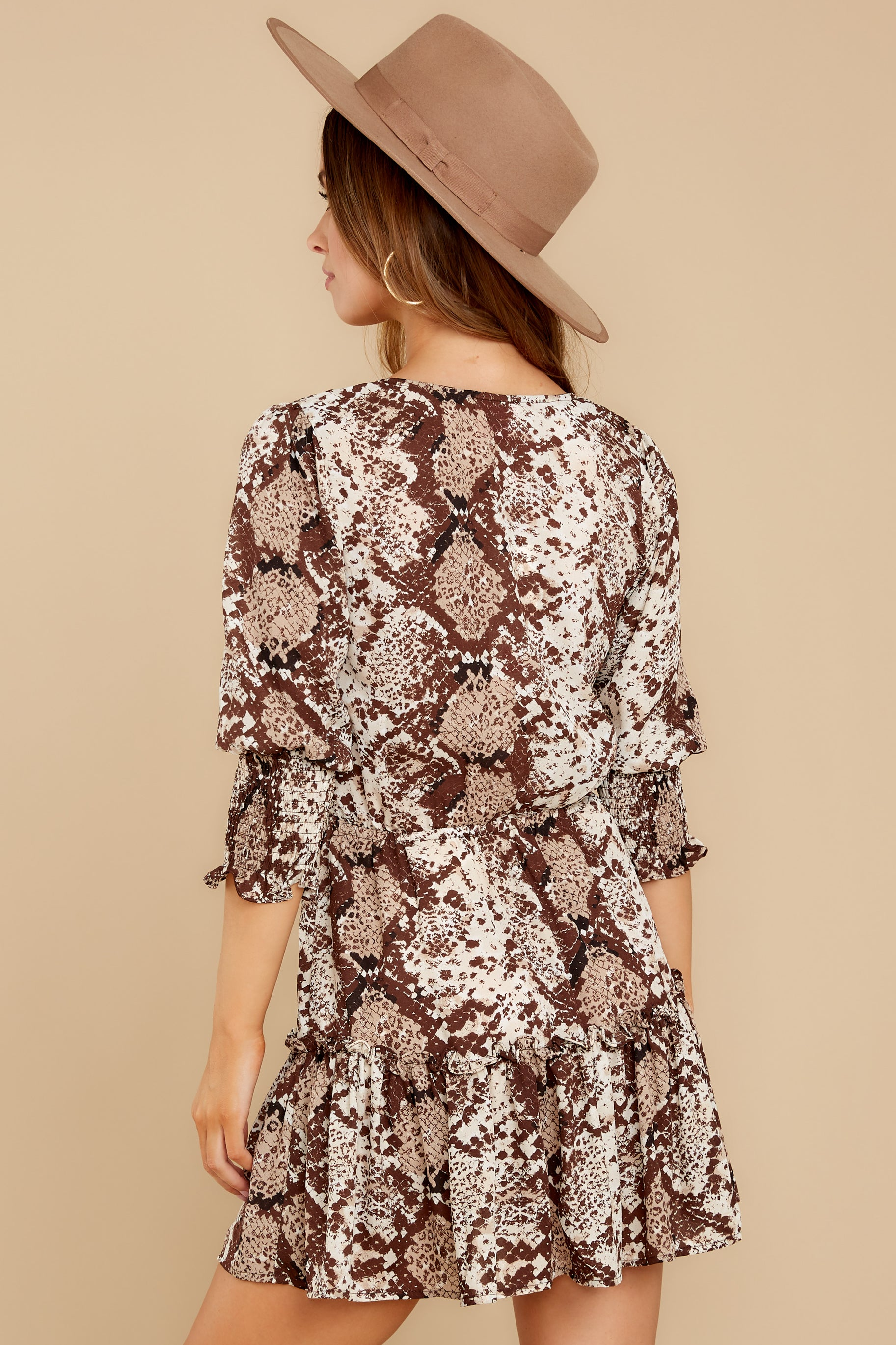8 You Will Be Noticed Brown Snake Print Dress at reddressboutique.com