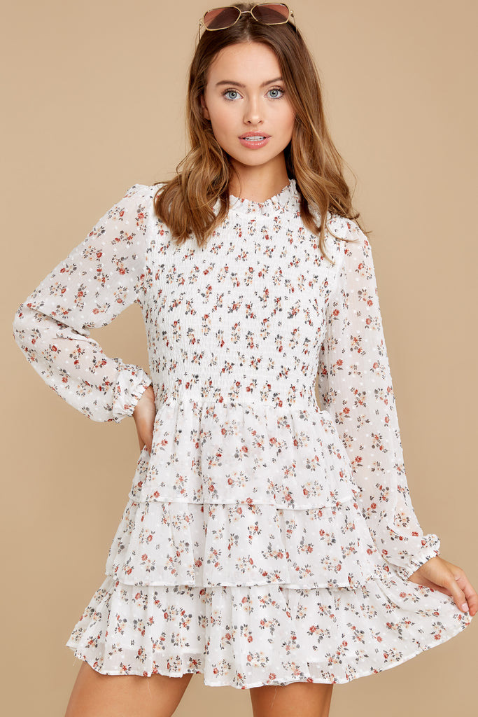 4 Being With You Ivory Floral Print Dress at reddress.com