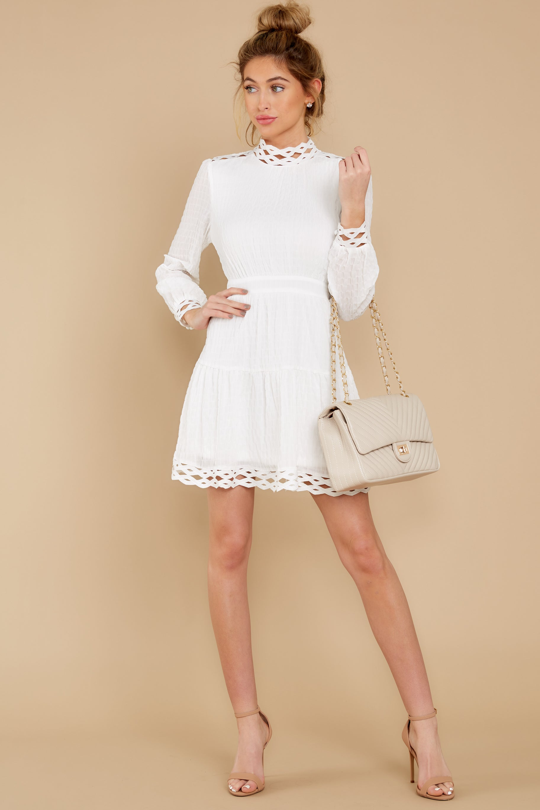 Modest, Mature, Mrs. Vintage Dresses – 20s, 30s, 40s, 50s, 60s Aura Leave It To Me White Dress $34.00 AT vintagedancer.com