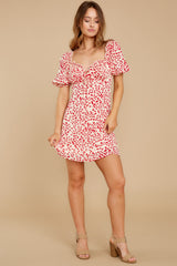 3 My Promenade Red Floral Print Dress at reddress.com