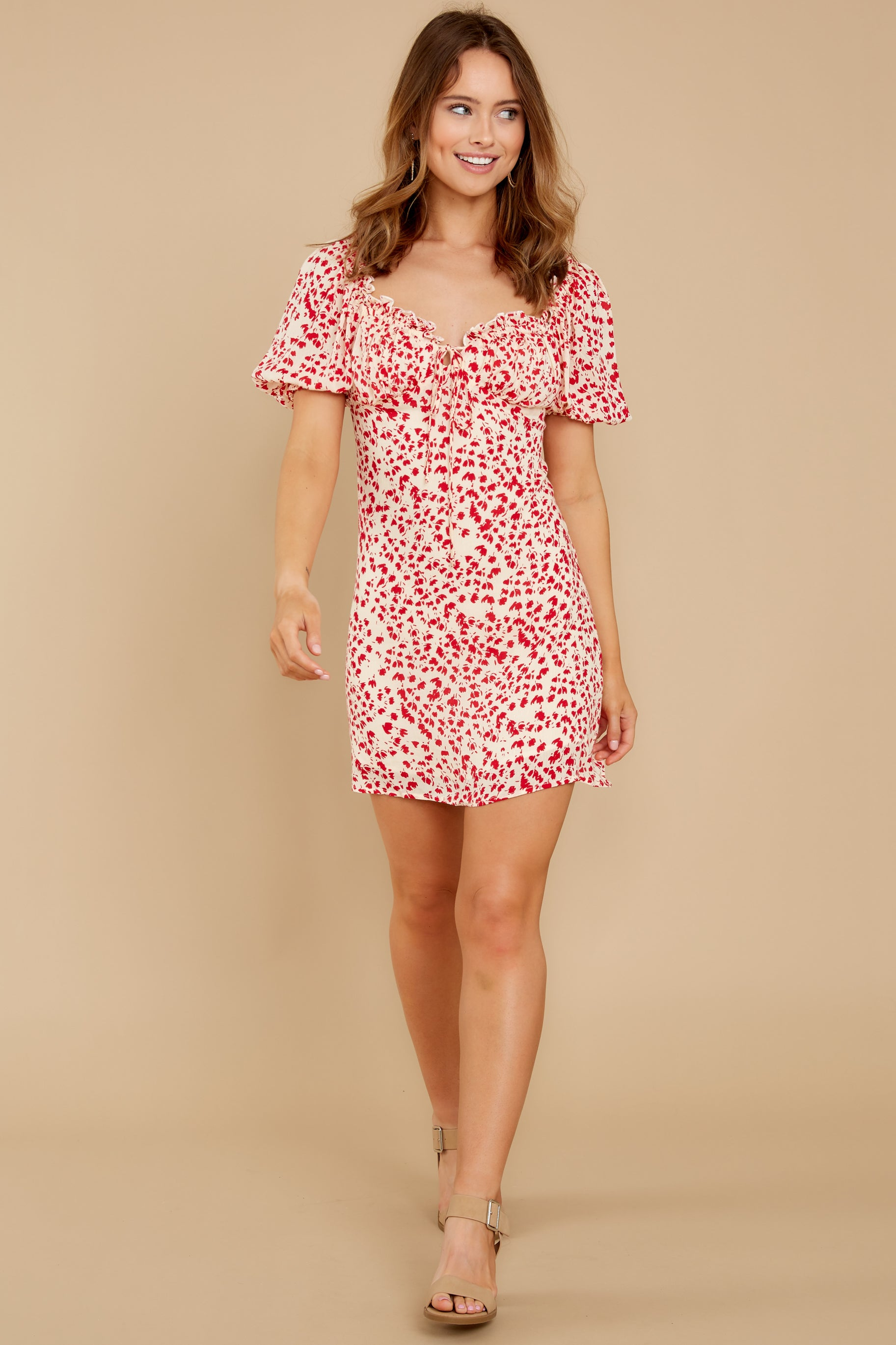 5 My Promenade Red Floral Print Dress at reddress.com