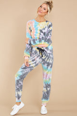 5 Just Sweet Enough Grey Multi Tie Dye Sweatshirt at reddress.com